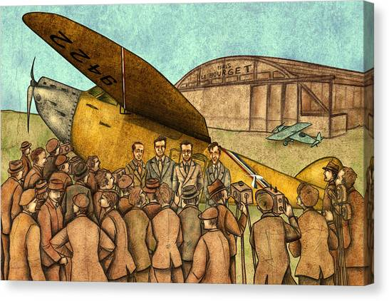 Large Birds Canvas Print - Classical Planes 1 by Autogiro Illustration