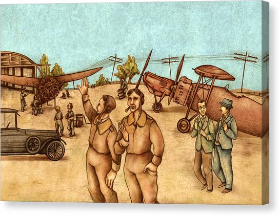 Large Birds Canvas Print - Classical Planes 2 by Autogiro Illustration