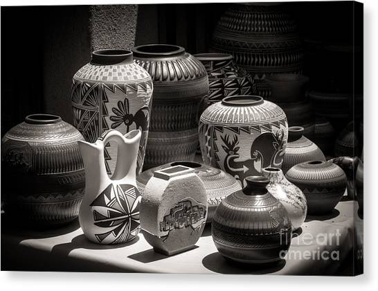 Clay Pots Black And White Canvas Print