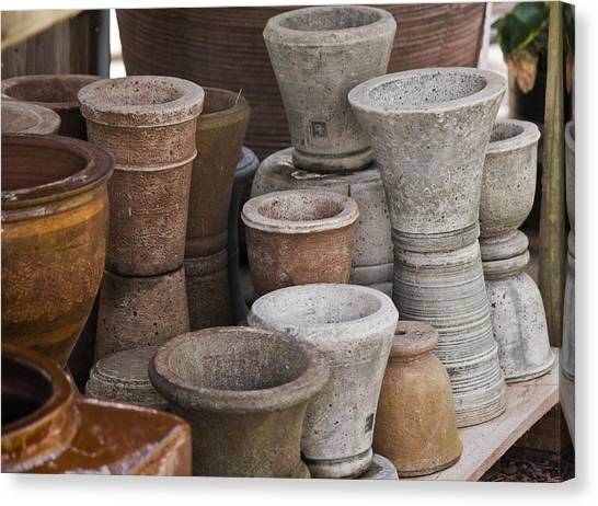 Ceramic Glazes Canvas Print - Clay Pots by Teresa Mucha