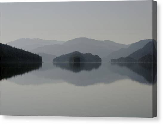 Tongass National Forest Canvas Print - Clearing Fog Hangs Above Islands by Melissa Farlow