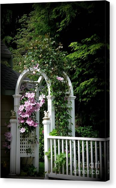 Clematis Arch Canvas Print by Tanya  Searcy
