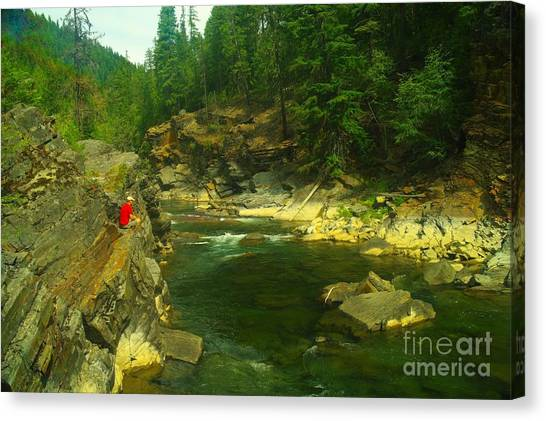 Yaks Canvas Print - Cliff Over The Yak River by Jeff Swan
