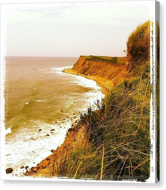 Marshes Canvas Print - Cliffs Of Block Island Sw Shore by Cathy Marsh Photography