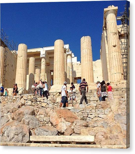 The Acropolis Canvas Print - Climbing In The Heat. #acropolis by Dimitre Mihaylov