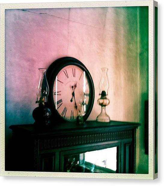 Farmhouse Canvas Print - #clock #lamp #oldhouse #dalkeith by James Roberts
