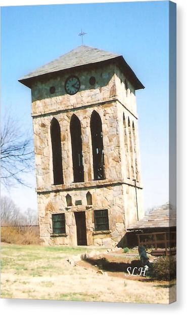 Clock Tower At Chinqua-penn Canvas Print