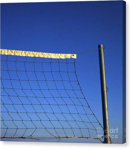 Volleyball Canvas Print - Close-up Of A Volleyball Net Abandoned. by Bernard Jaubert