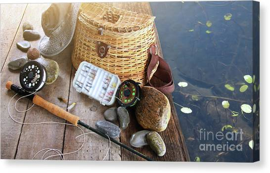 Angling Canvas Print - Close-up Of Fishing Equipment And Hat  by Sandra Cunningham
