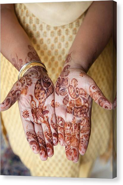Henna Tattoo Canvas Print - Close Up Of Henna Hands by Grant Faint