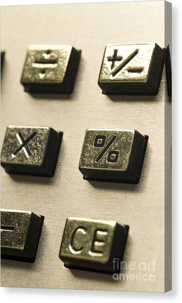 Keypad Canvas Print - Close-up Of Sign On The Buttons Of A Calculator by Bernard Jaubert