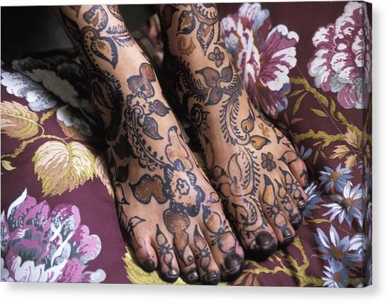 Henna Tattoo Canvas Print - Close-up Of Womans Feet With Henna by Axiom Photographic