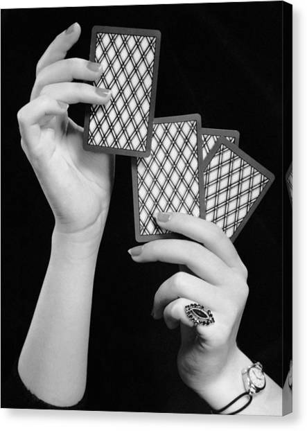 Close-up Of Woman's Hands W/playing Cards Canvas Print by George Marks