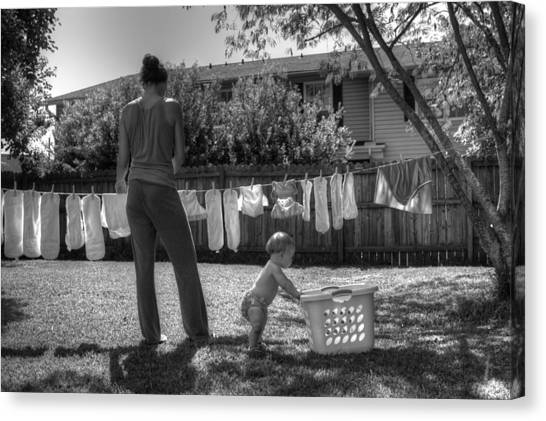 Cloth Diapers On The Line Canvas Print by Justin Ellis