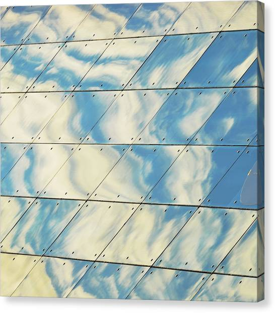 Cloud Reflections On Building Mirror Canvas Print