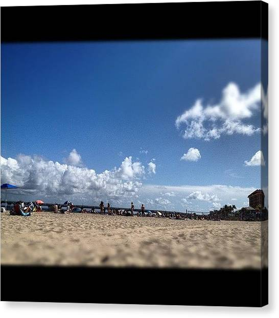Volleyball Canvas Print - Clouds Are Cominggg..! #clouds #pier by Emily W