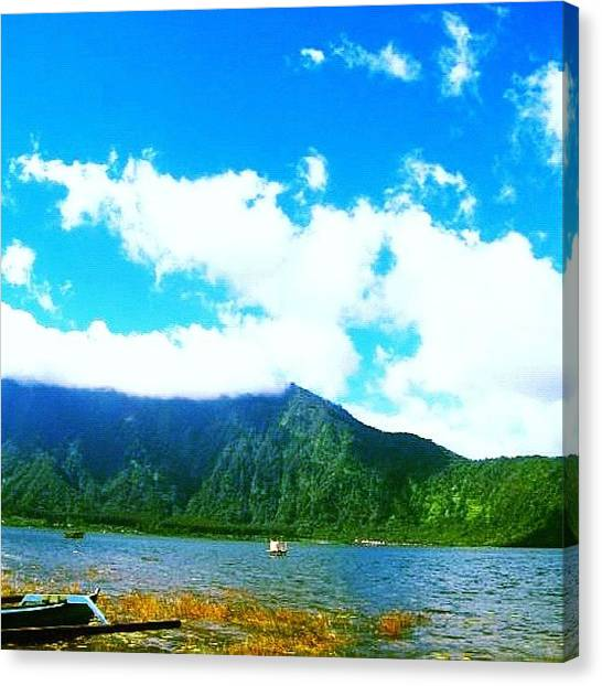 Volcanoes Canvas Print - #clouds #bali #lake #mountain #volcano by Hydn Hyun