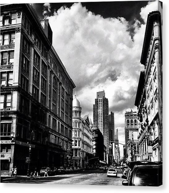 Black And White Canvas Print - Clouds Over Chelsea - New York City by Vivienne Gucwa
