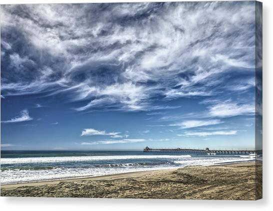 Clouds Over Imperial Beach Pier Canvas Print