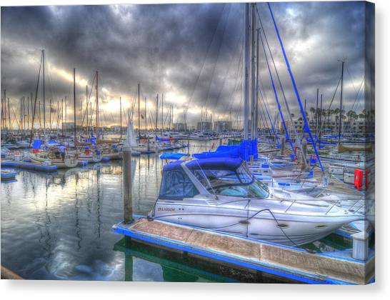 Clouds Over Marina Canvas Print