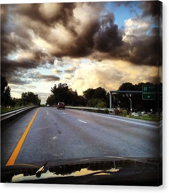 Vermont Canvas Print - Clouds Over Winooski by Kelly Diamond
