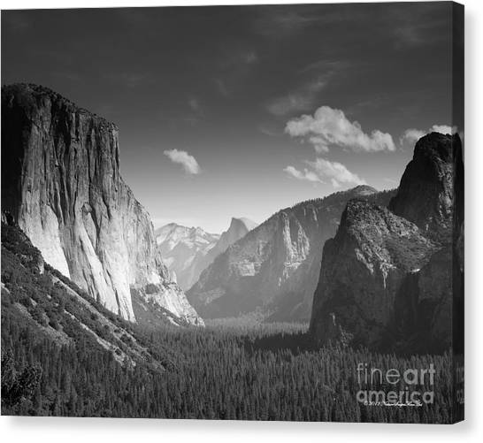 Clouds Over Yosemite Valley Black And White Canvas Print