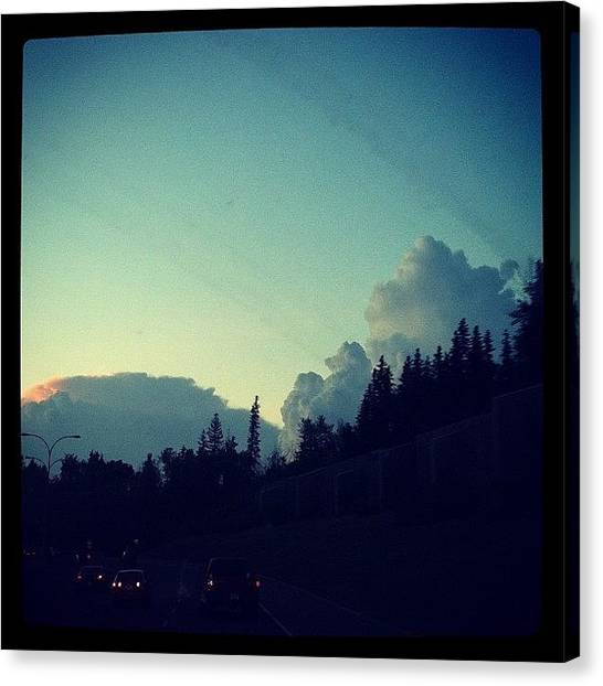 Dodge Canvas Print - #clouds #whitemud #highway #driving by Sam Sana