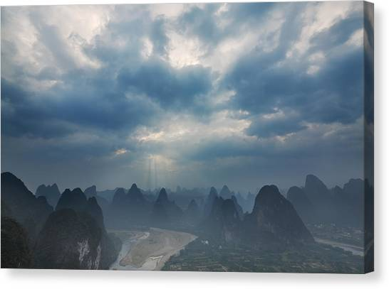 Cloudy Sunset In Guilin Guangxi China Canvas Print