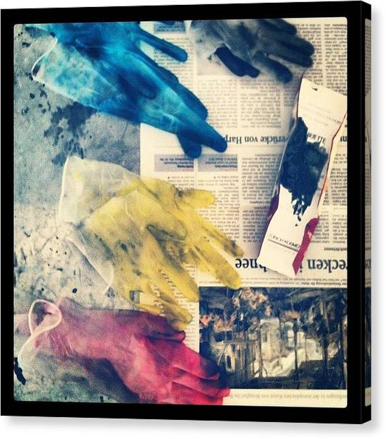 Gloves Canvas Print - Cmyk by Florian Divi
