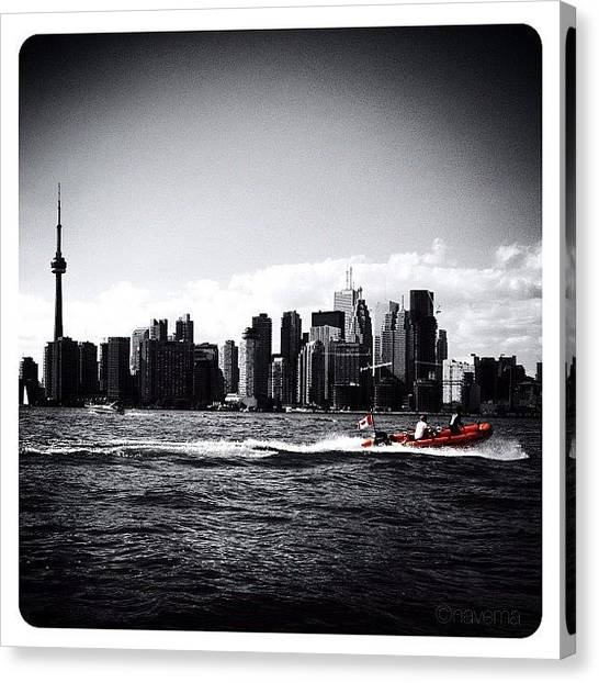 Skylines Canvas Print - Cn Tower Series: A Touch Of Color by Natasha Marco