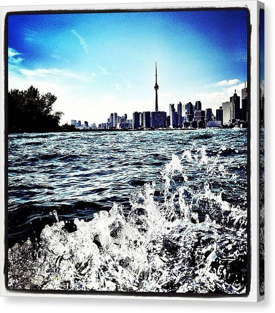 Toronto Skyline Canvas Print - Cn Tower Series: Lake Splash by Natasha Marco