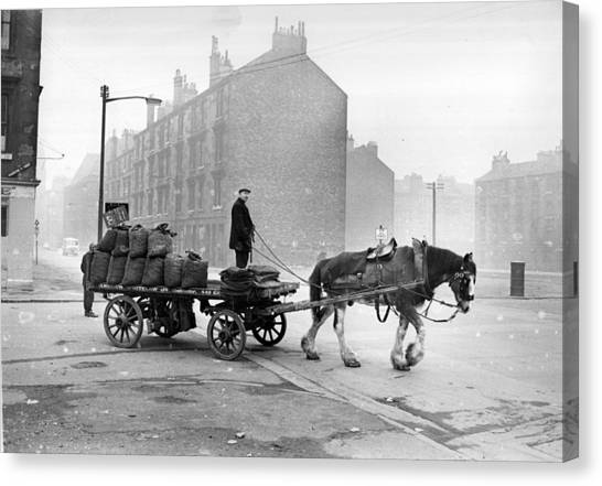 Coalman And Cart Canvas Print by Albert McCabe