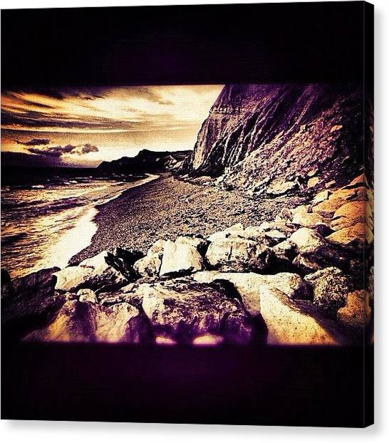 Beach Cliffs Canvas Print - #coast #sea #cliffs #rocks #sand by Nik Allen