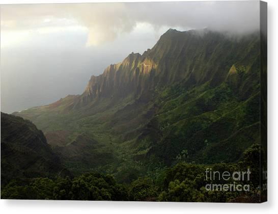 Surfboard Fence Canvas Print - Coastal Mountains Kauai by Bob Christopher