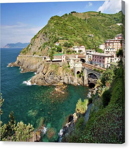 Mountain Cliffs Canvas Print - Coastal Railway Tunnel In Italian Village by Wx Photography