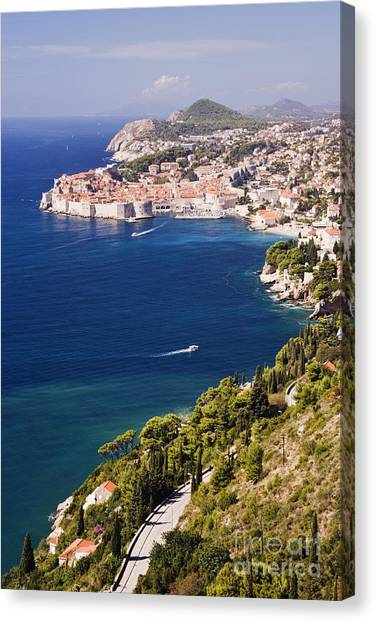 Coastal View Of The Old Town Of Dubrovnik Canvas Print by Jeremy Woodhouse