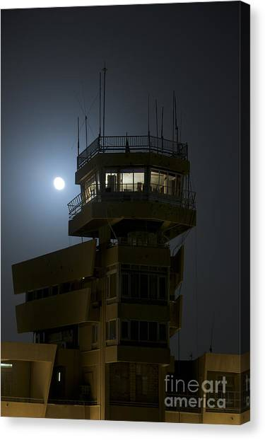 Air Traffic Control Canvas Print - Cob Speicher Control Tower Under A Full by Terry Moore