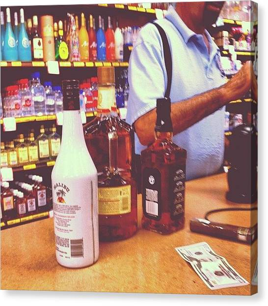 Liquor Canvas Print - #cocnutrum #spicerum #jackdaniels by S Smithee