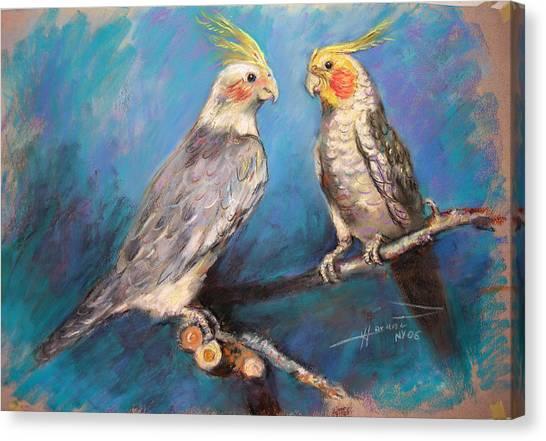 Parrots Canvas Print - Coctaiel Parrots by Ylli Haruni