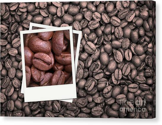 Vintage Polaroid Canvas Print - Coffee Beans Polaroid by Jane Rix