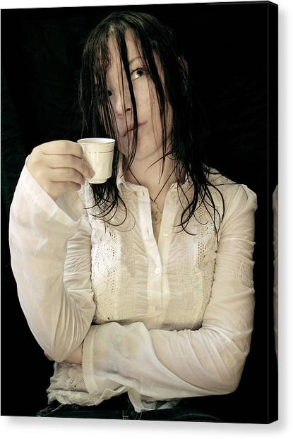Coffee Meditation Canvas Print by Zhanna Vozbranna