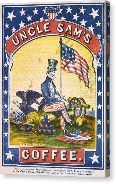 Coffee, Uncle Sams Coffee, Illustrated Canvas Print by Everett