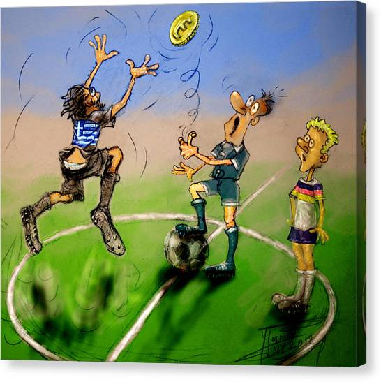 Coins Canvas Print - Coin Toss  by Ylli Haruni
