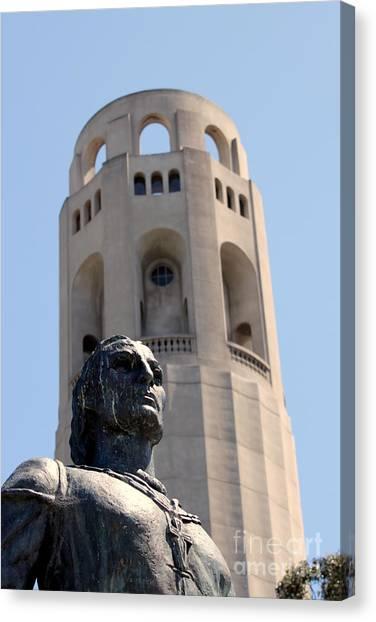 Coit Tower Statue Columbus Canvas Print