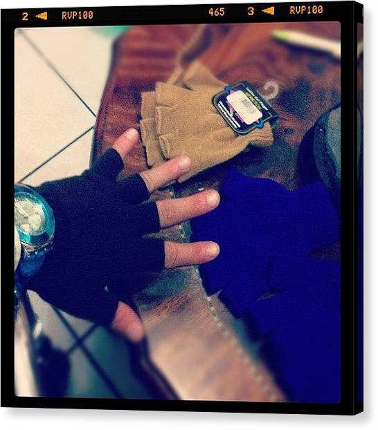 Gloves Canvas Print - #cold #its #here #im #prepare #whit #my by Fco Rios