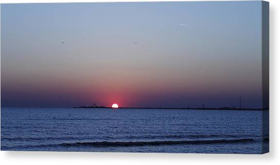 Sunrise Horizon Canvas Print - Cold Sunrise by Steve K