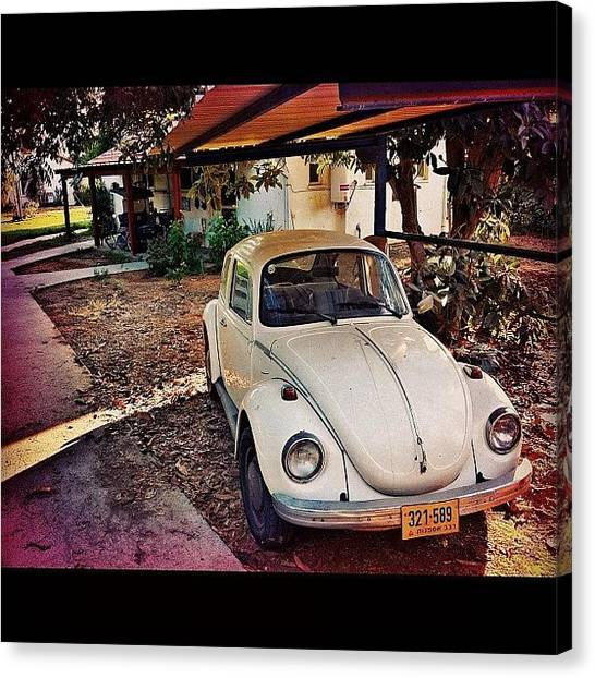 Volkswagen Canvas Print - #collectors #classic #car #auto #white by Alon Ben Levy