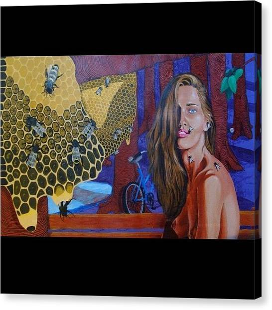 War Canvas Print - Colmena #art #artwar #acrylic #girl by Art War