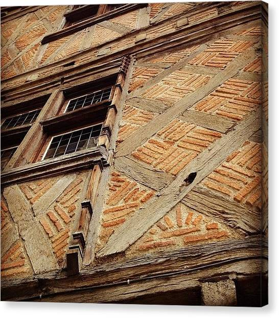 Iphone 4s Canvas Print - #colombages #bricks #oldhouse #house by Val Lao
