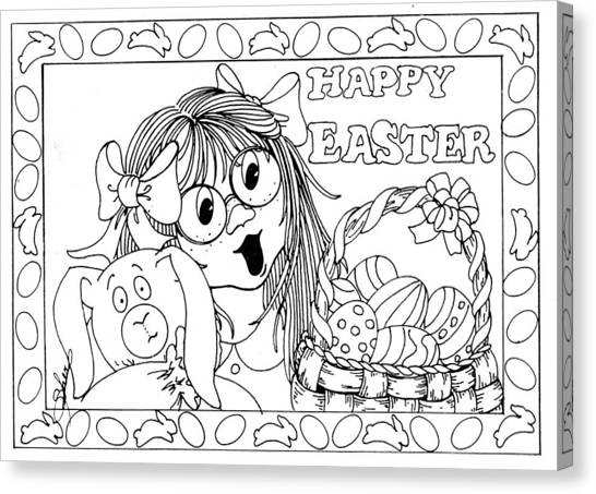 Color Me Card - Easter Canvas Print